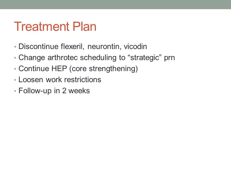 Treatment Plan Discontinue flexeril, neurontin, vicodin