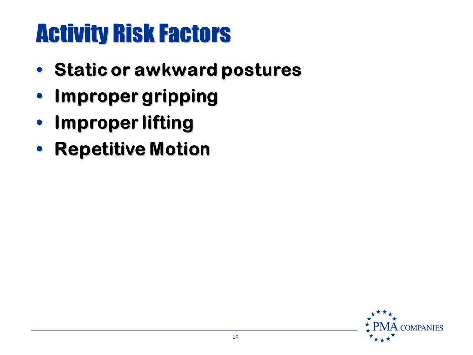 Activity Risk Factors Static or awkward postures Improper gripping
