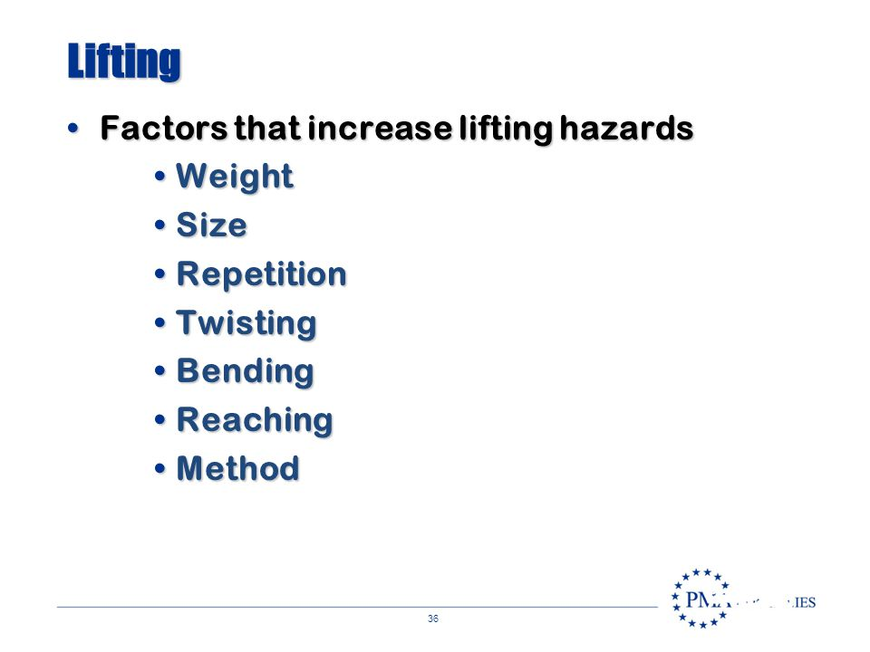 Lifting Factors that increase lifting hazards Weight Size Repetition