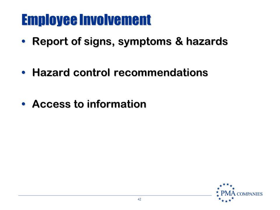 Employee Involvement Report of signs, symptoms & hazards