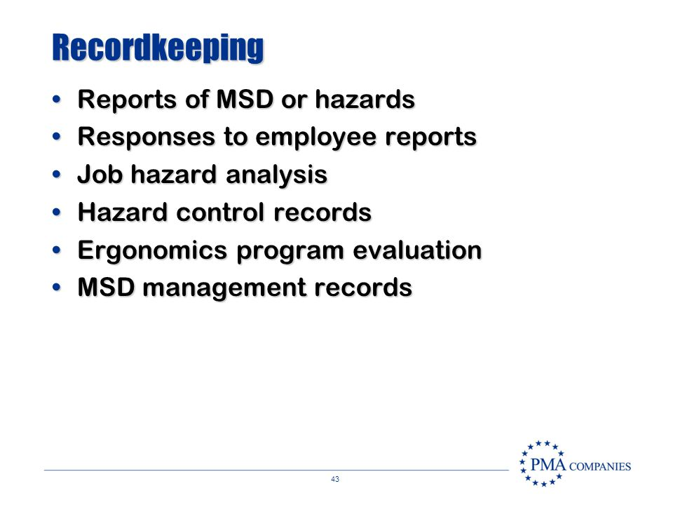 Recordkeeping Reports of MSD or hazards Responses to employee reports