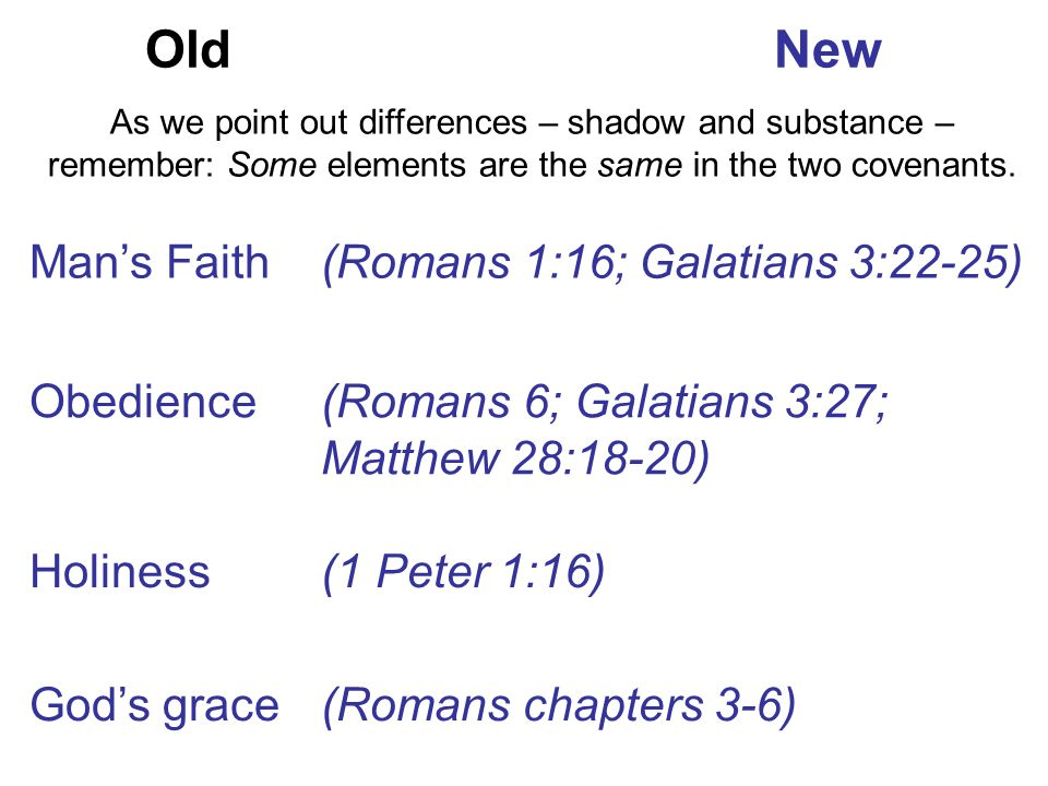 Old New Man's Faith (Romans 1:16; Galatians 3:22-25) Obedience