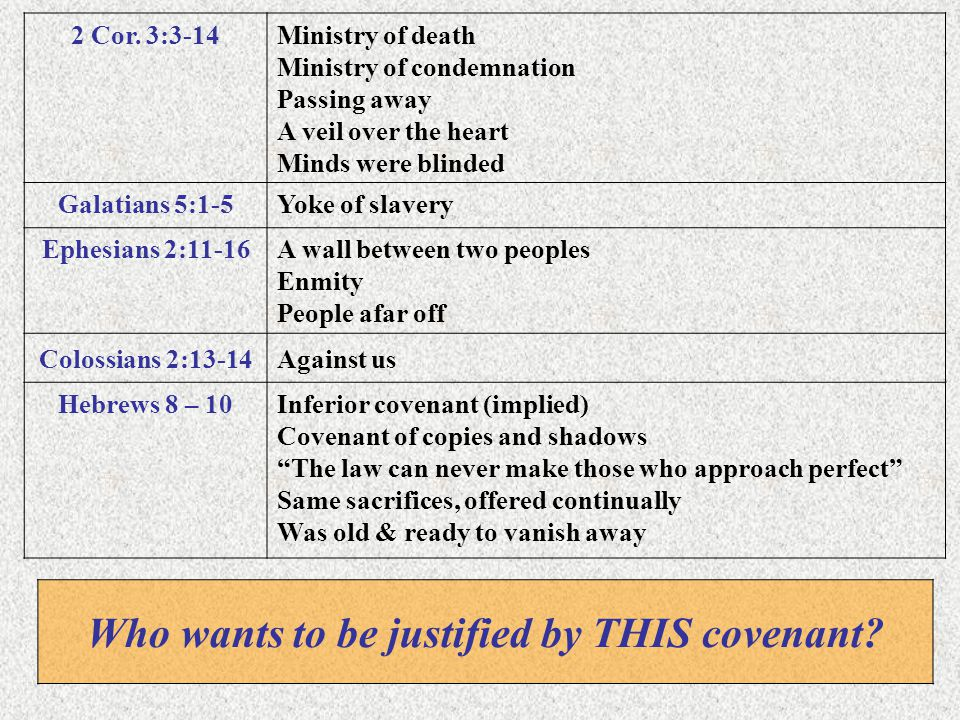 Who wants to be justified by THIS covenant