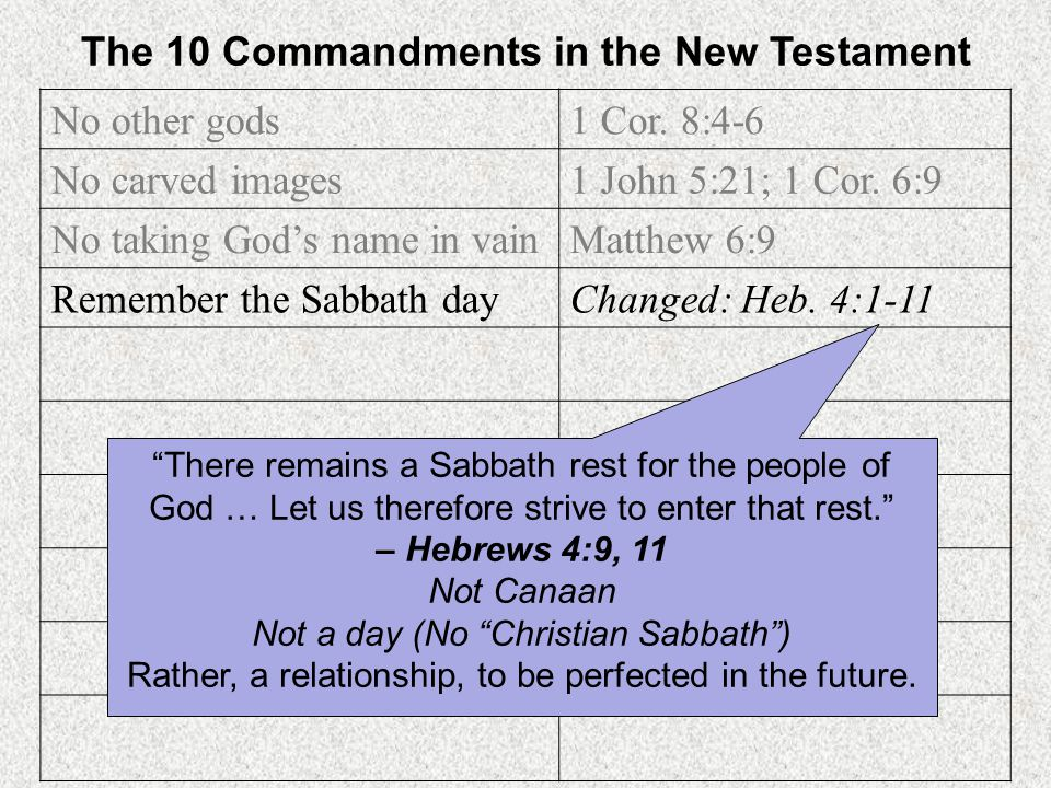 The 10 Commandments in the New Testament No other gods 1 Cor. 8:4-6