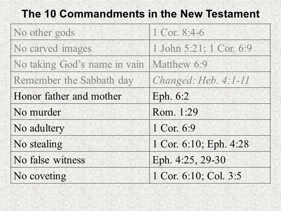 The 10 Commandments in the New Testament