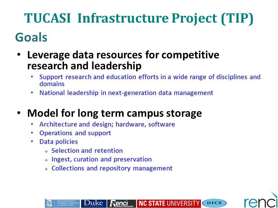TUCASI Infrastructure Project (TIP) Goals