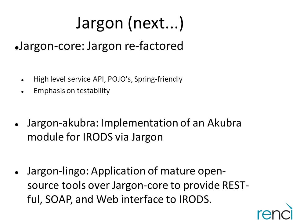 Jargon (next...) Jargon-core: Jargon re-factored