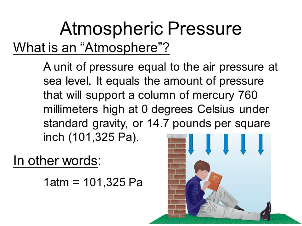Atmospheric Pressure What is an Atmosphere In other words: