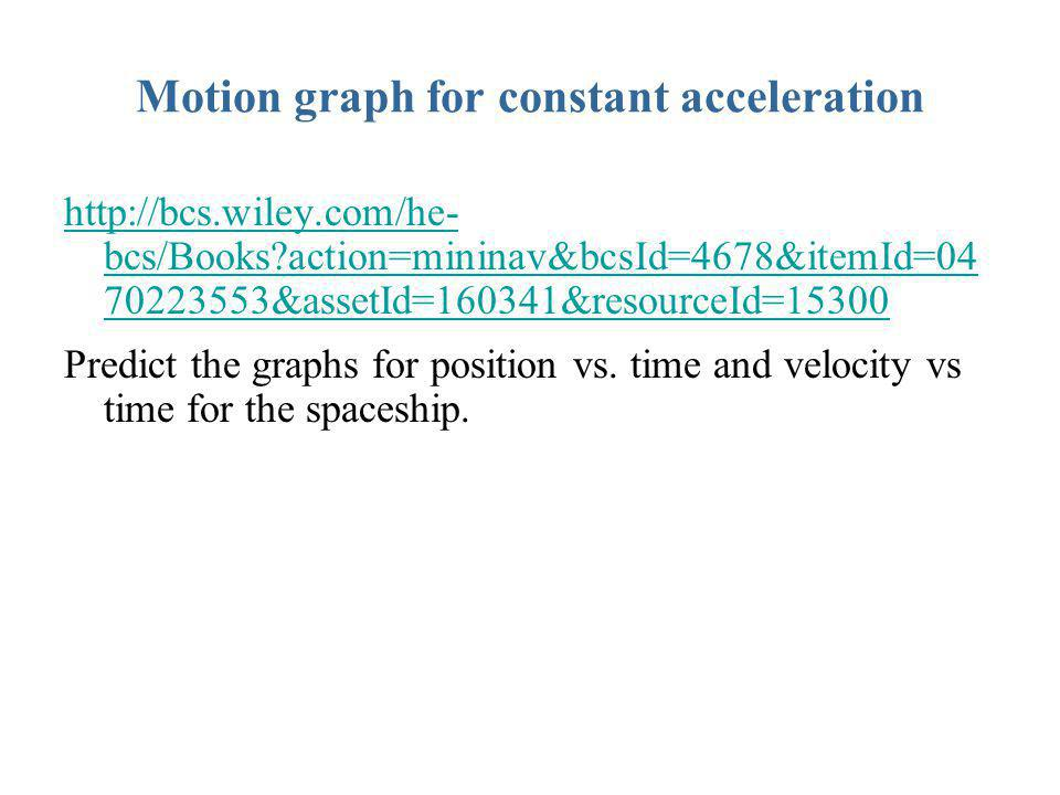 Motion graph for constant acceleration