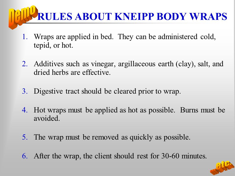 RULES ABOUT KNEIPP BODY WRAPS