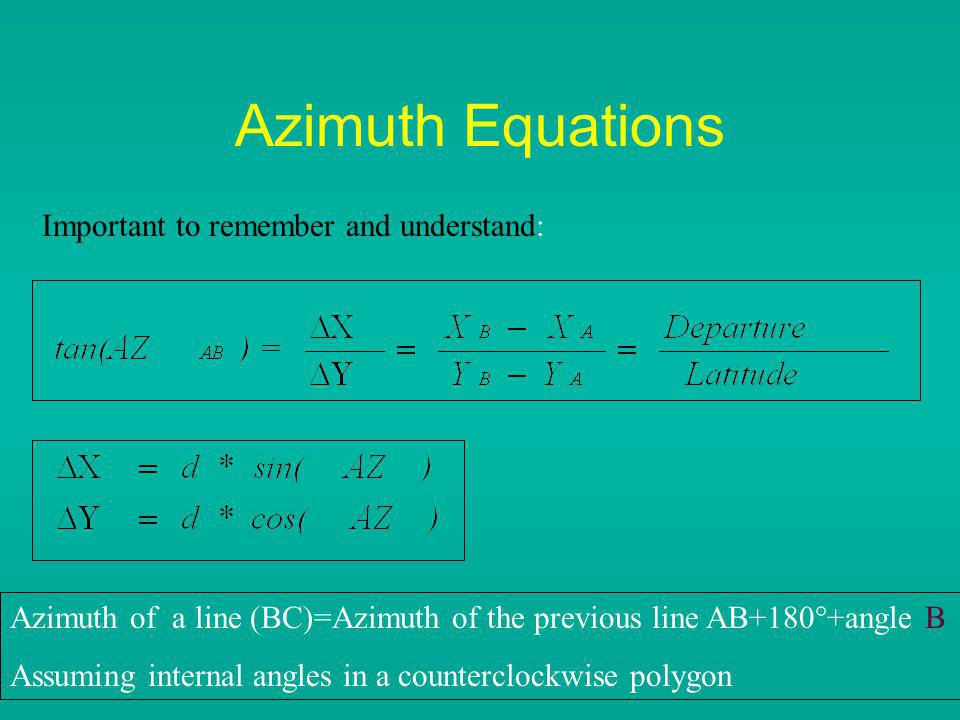Azimuth Equations Important to remember and understand: