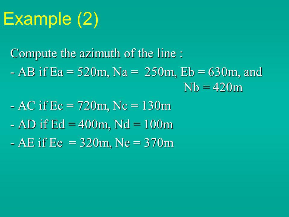 Example (2) Compute the azimuth of the line :