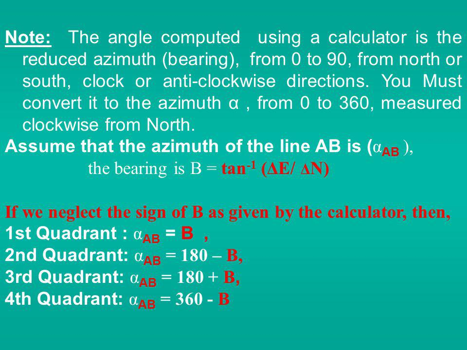 Note: The angle computed using a calculator is the reduced azimuth (bearing), from 0 to 90, from north or south, clock or anti-clockwise directions. You Must convert it to the azimuth α , from 0 to 360, measured clockwise from North.