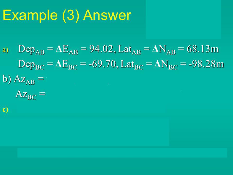 Example (3) Answer DepAB = ΔEAB = 94.02, LatAB = ΔNAB = 68.13m