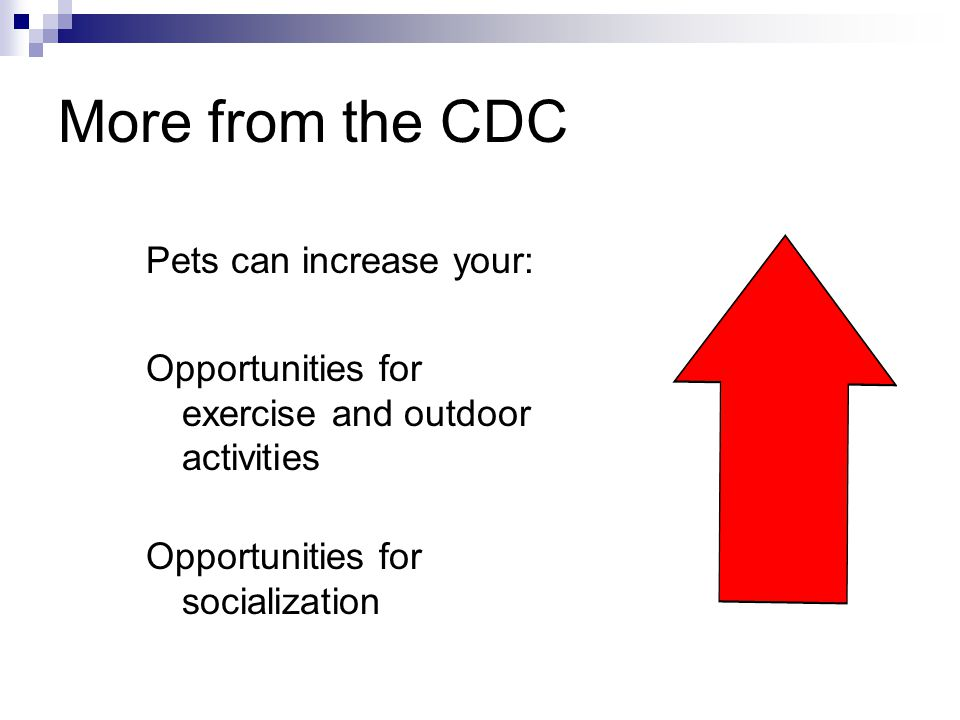 More from the CDC Pets can increase your:
