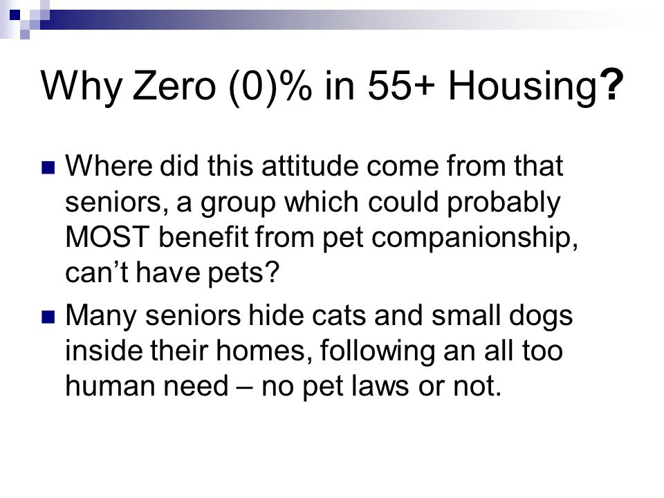 Why Zero (0)% in 55+ Housing