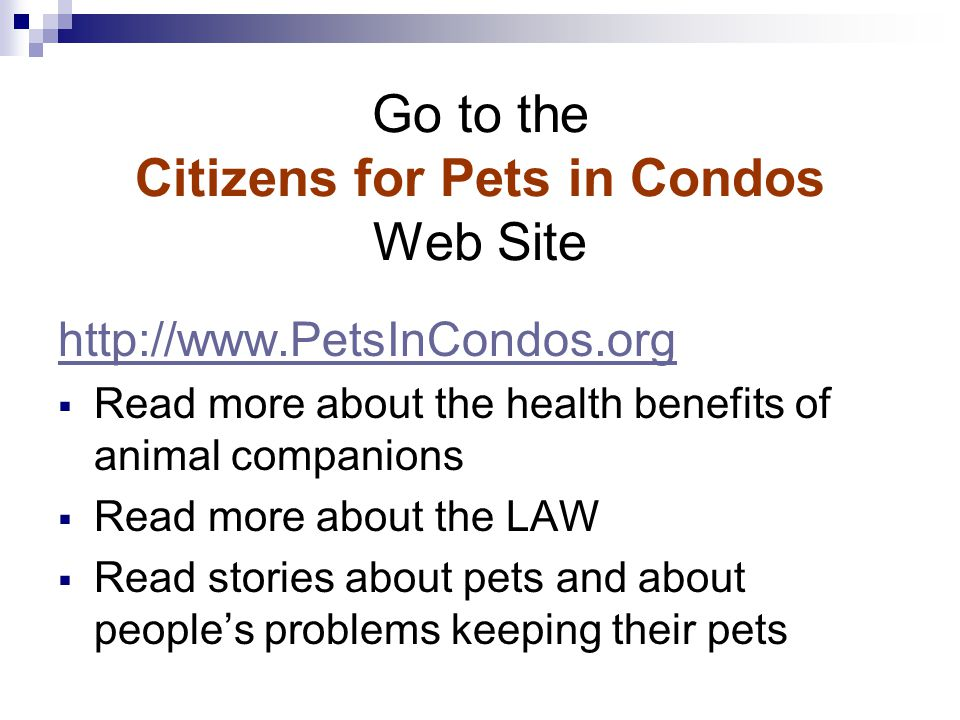 Go to the Citizens for Pets in Condos Web Site