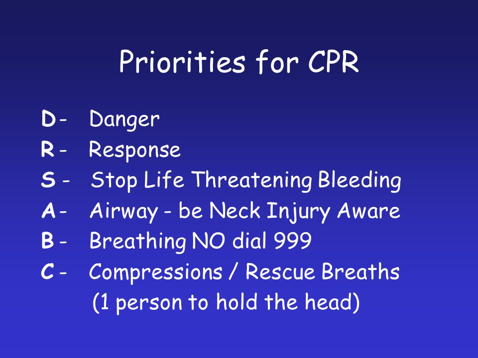 Priorities for CPR D - Danger R - Response