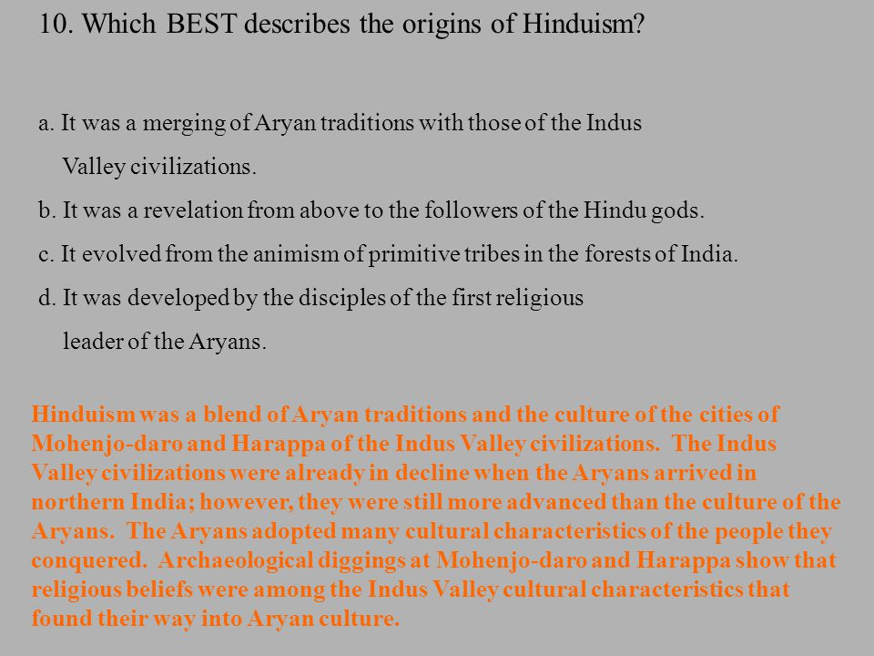 10. Which BEST describes the origins of Hinduism