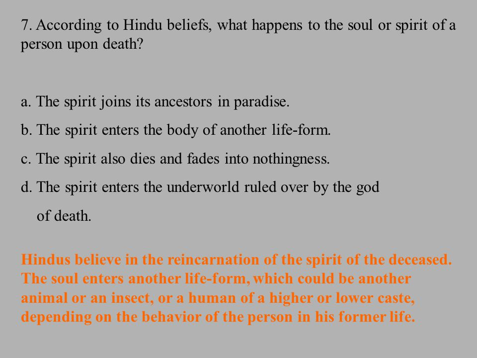 7. According to Hindu beliefs, what happens to the soul or spirit of a person upon death