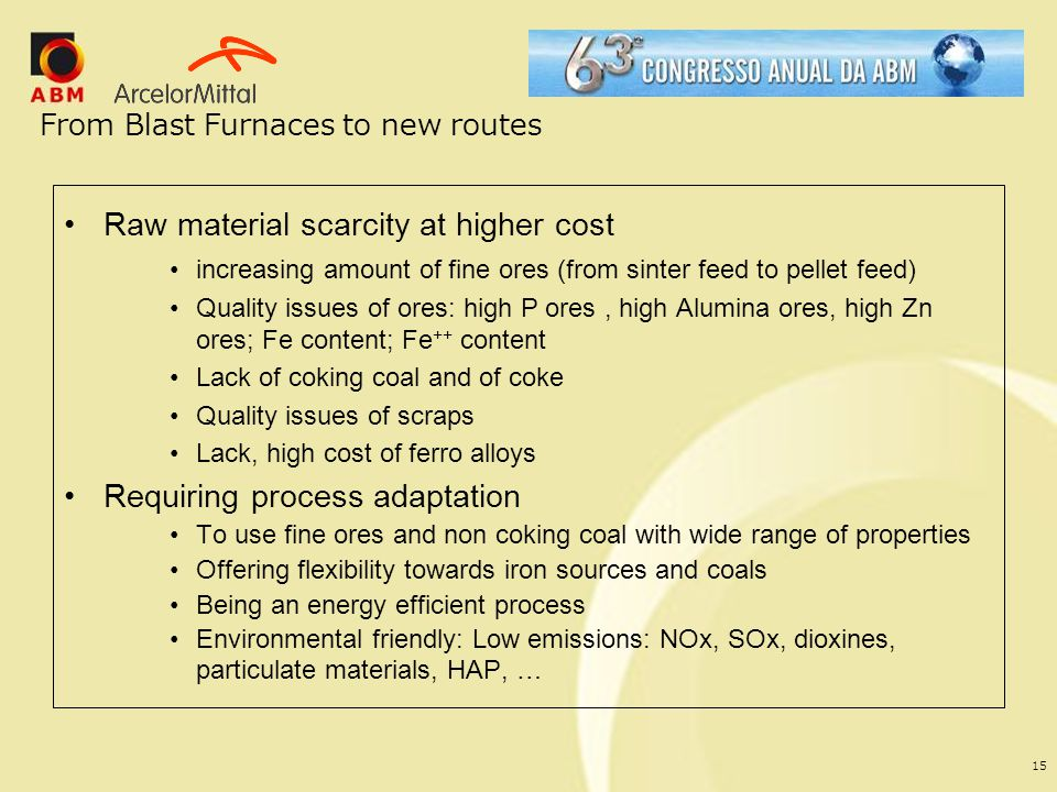 From Blast Furnaces to new routes