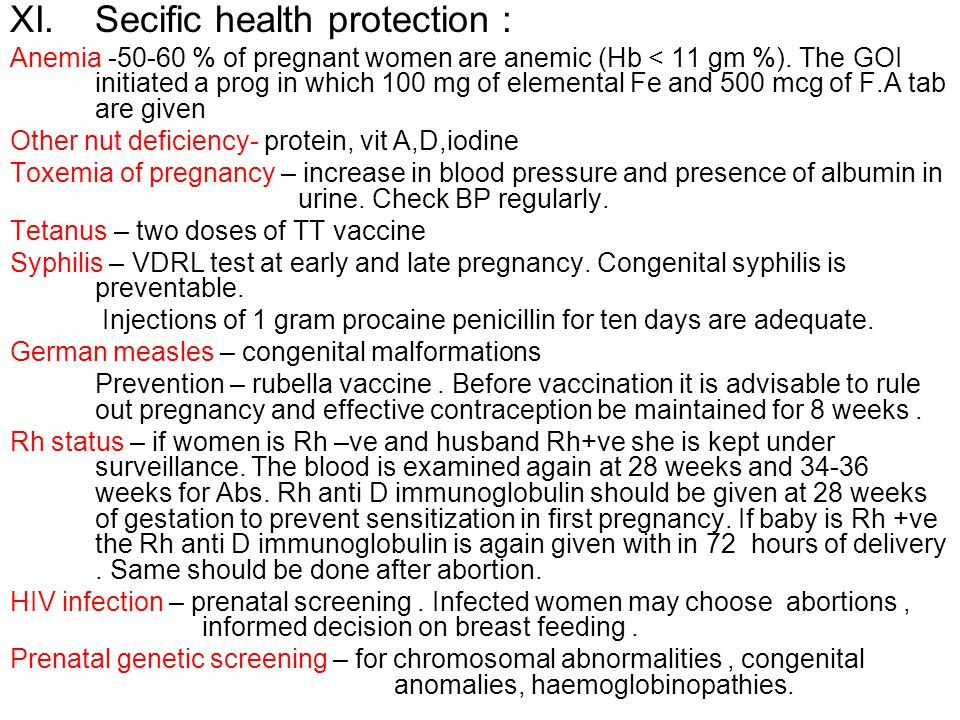 Secific health protection :