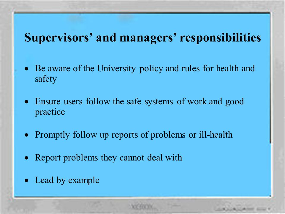 Supervisors' and managers' responsibilities