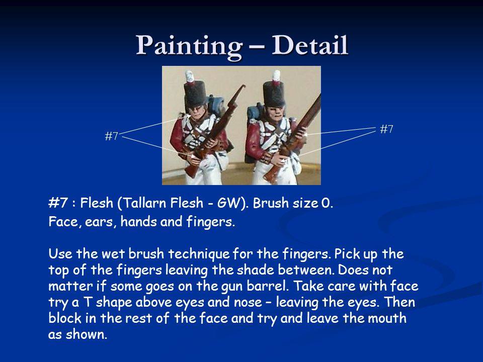 Painting – Detail #7 : Flesh (Tallarn Flesh - GW). Brush size 0.