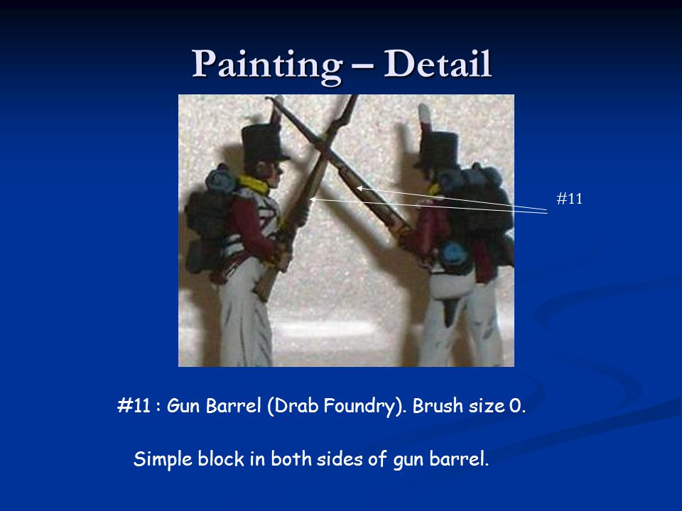 Painting – Detail #11 : Gun Barrel (Drab Foundry). Brush size 0.