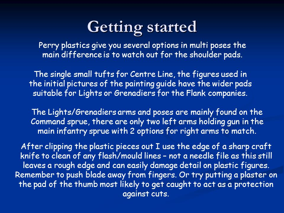 Getting started Perry plastics give you several options in multi poses the main difference is to watch out for the shoulder pads.