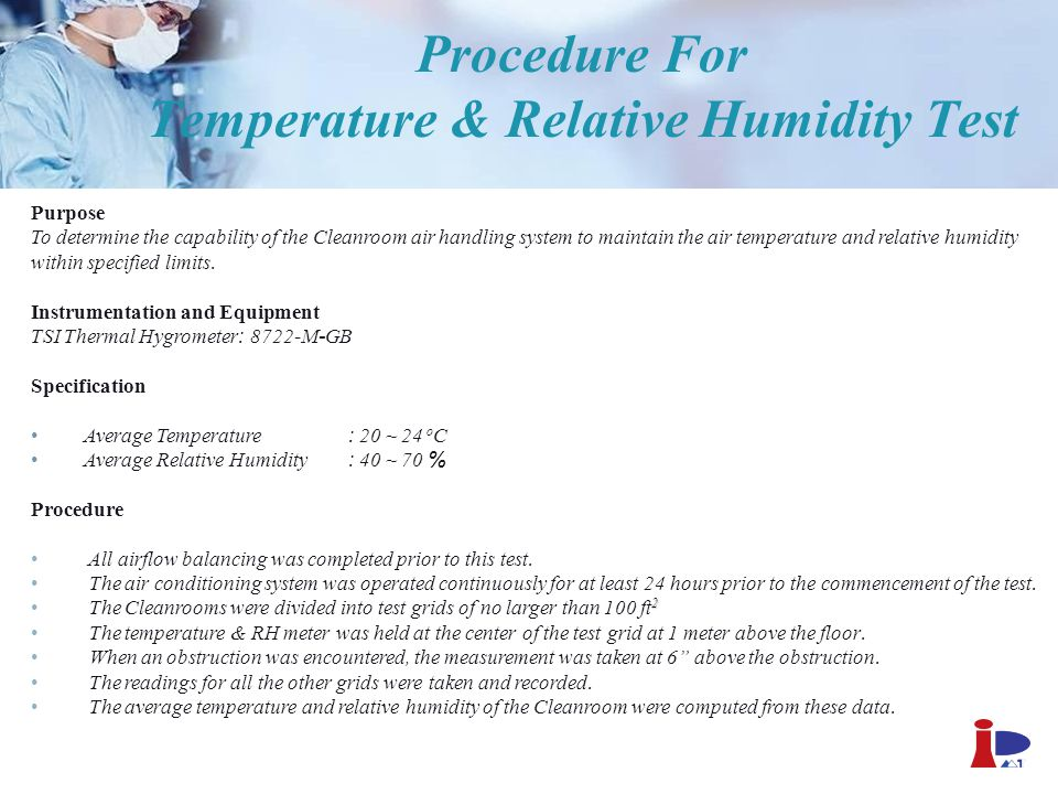 Procedure For Temperature & Relative Humidity Test