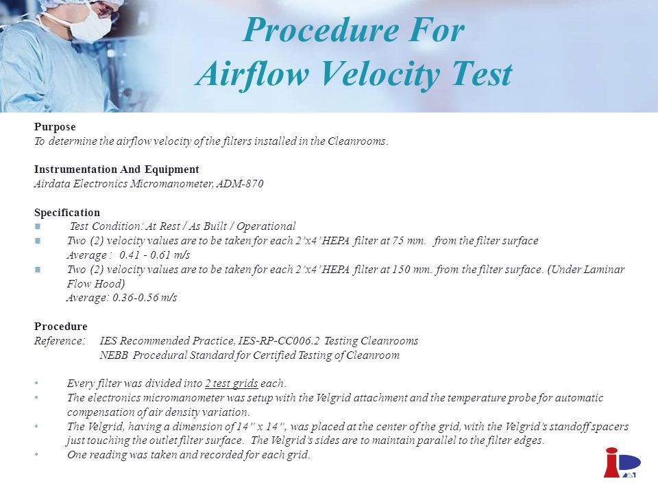 Procedure For Airflow Velocity Test