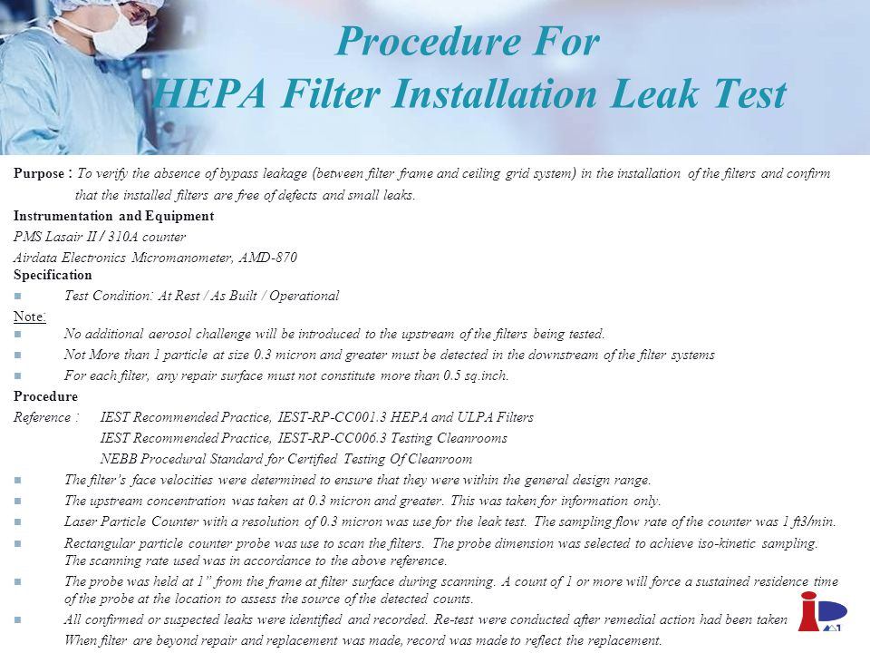 Procedure For HEPA Filter Installation Leak Test