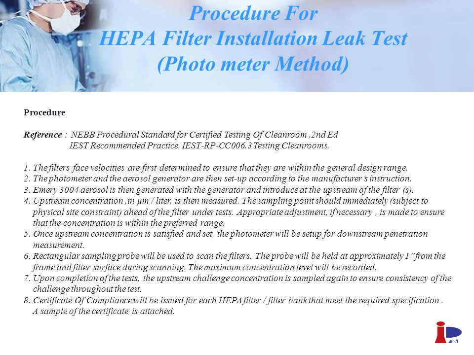 Procedure For HEPA Filter Installation Leak Test (Photo meter Method)
