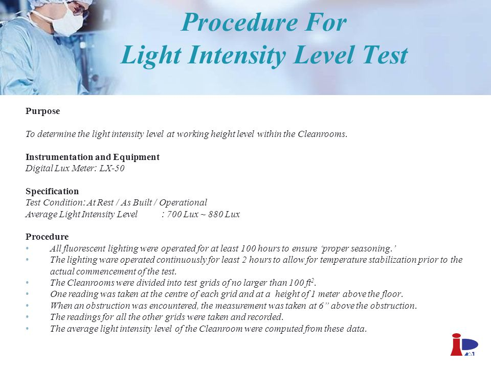 Procedure For Light Intensity Level Test