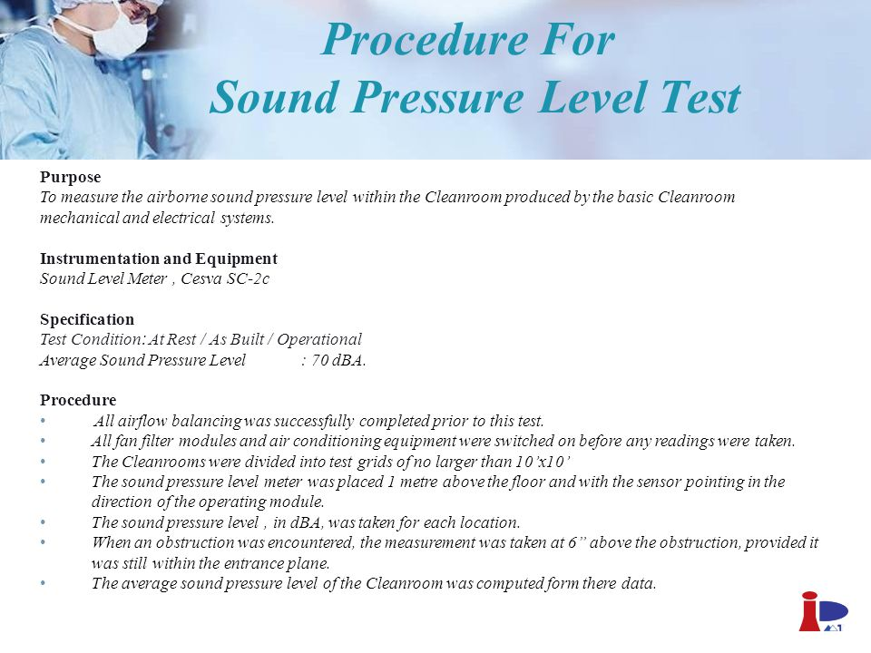 Procedure For Sound Pressure Level Test