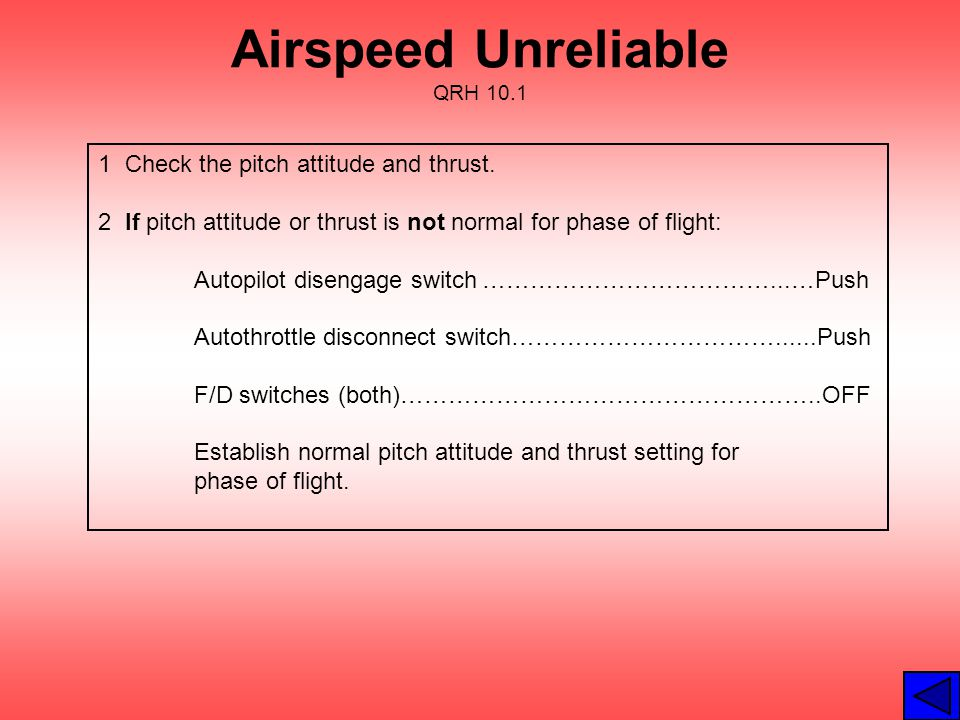 Airspeed Unreliable QRH 10.1