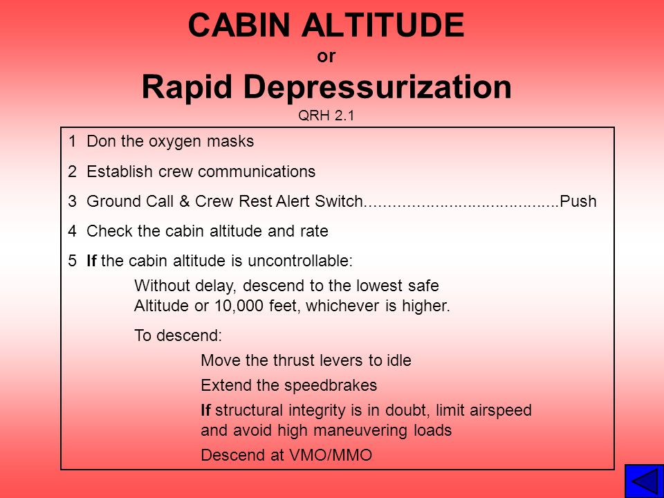 CABIN ALTITUDE or Rapid Depressurization QRH 2.1