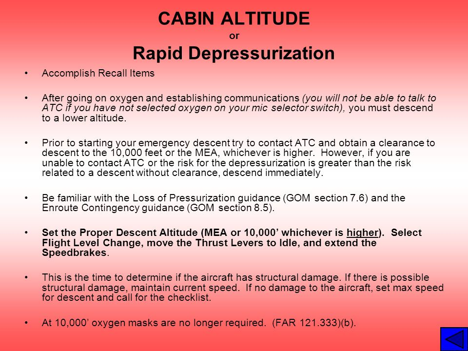 CABIN ALTITUDE or Rapid Depressurization