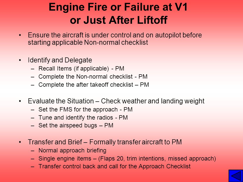 Engine Fire or Failure at V1 or Just After Liftoff