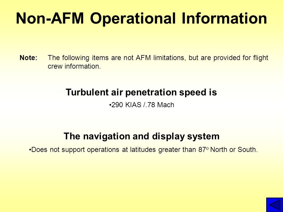 Non-AFM Operational Information