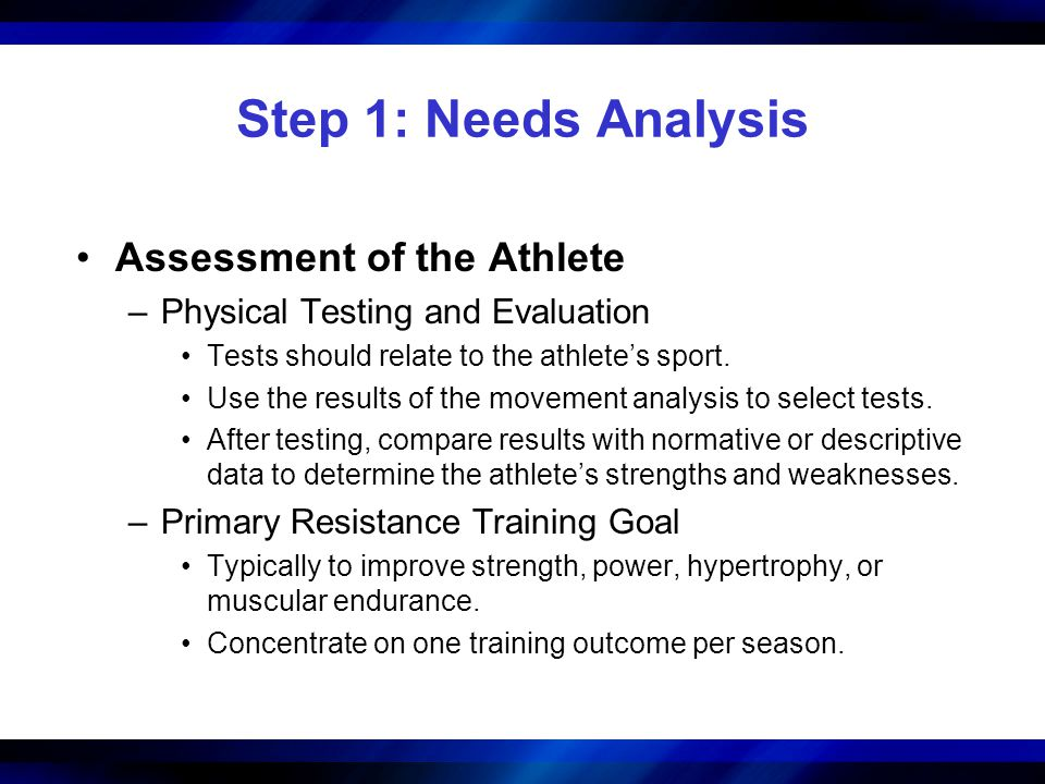 Step 1: Needs Analysis Assessment of the Athlete