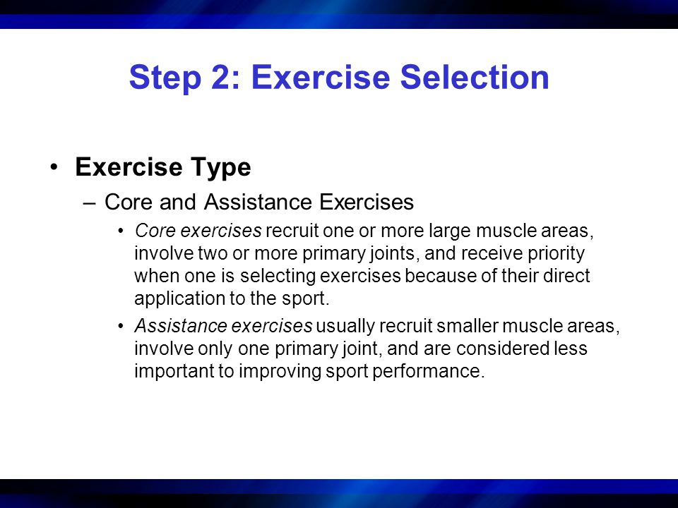 Step 2: Exercise Selection