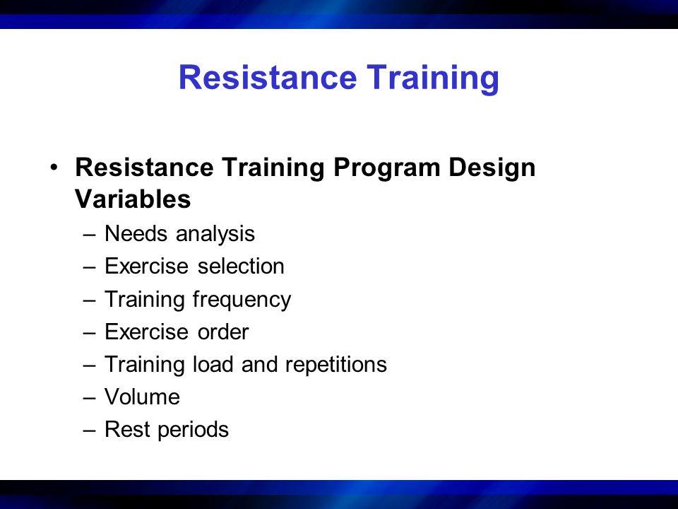 Resistance Training Resistance Training Program Design Variables