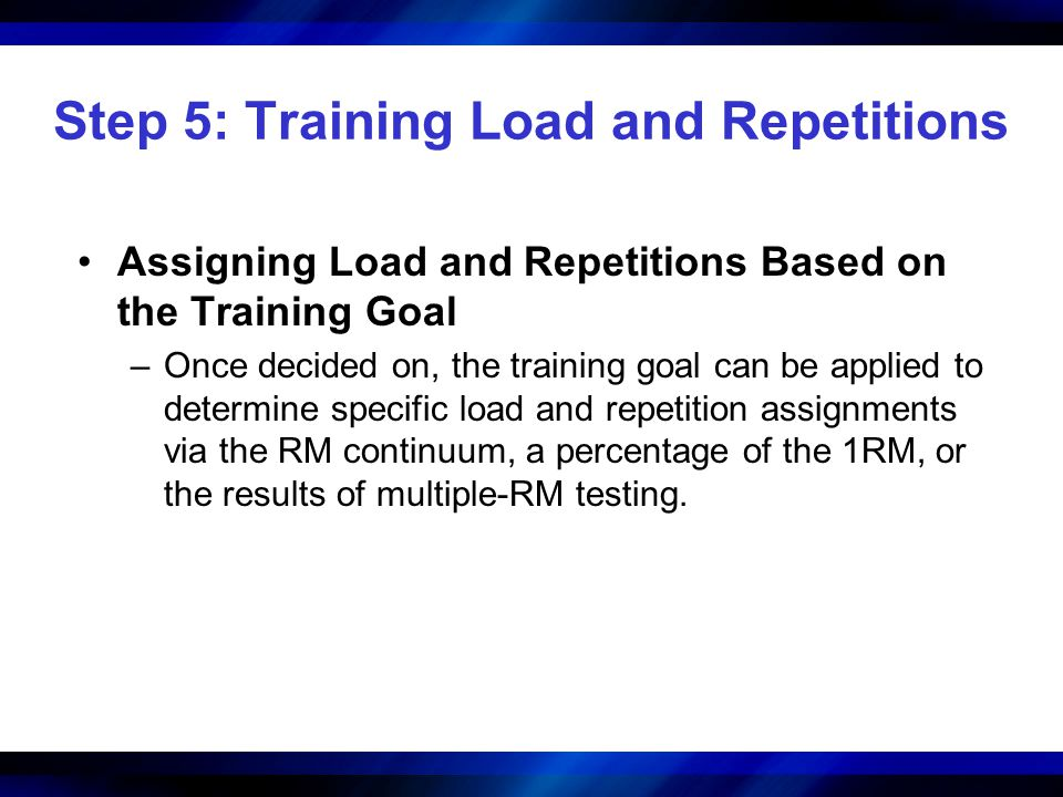 Step 5: Training Load and Repetitions