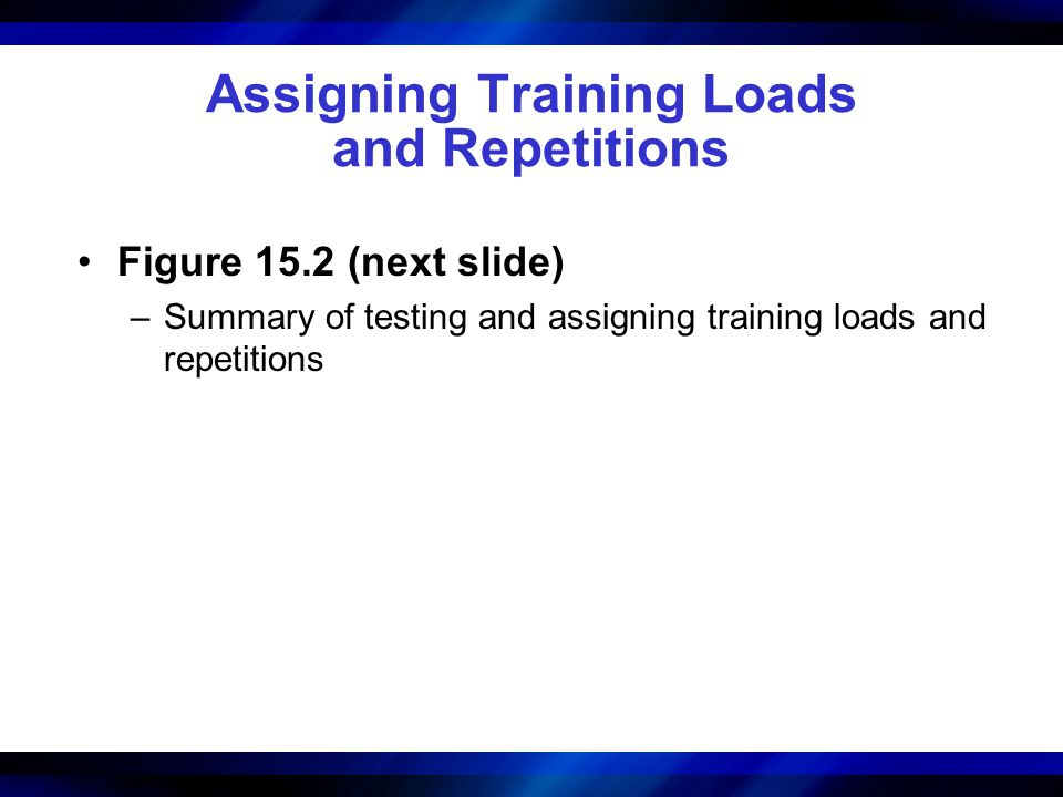Assigning Training Loads and Repetitions