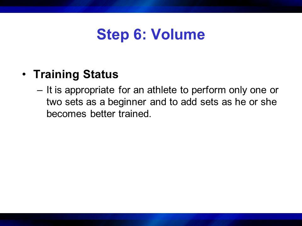 Step 6: Volume Training Status