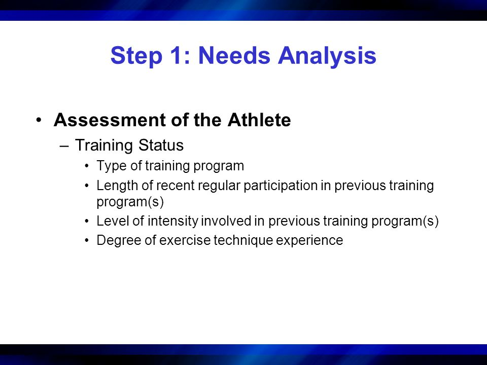 Step 1: Needs Analysis Assessment of the Athlete Training Status