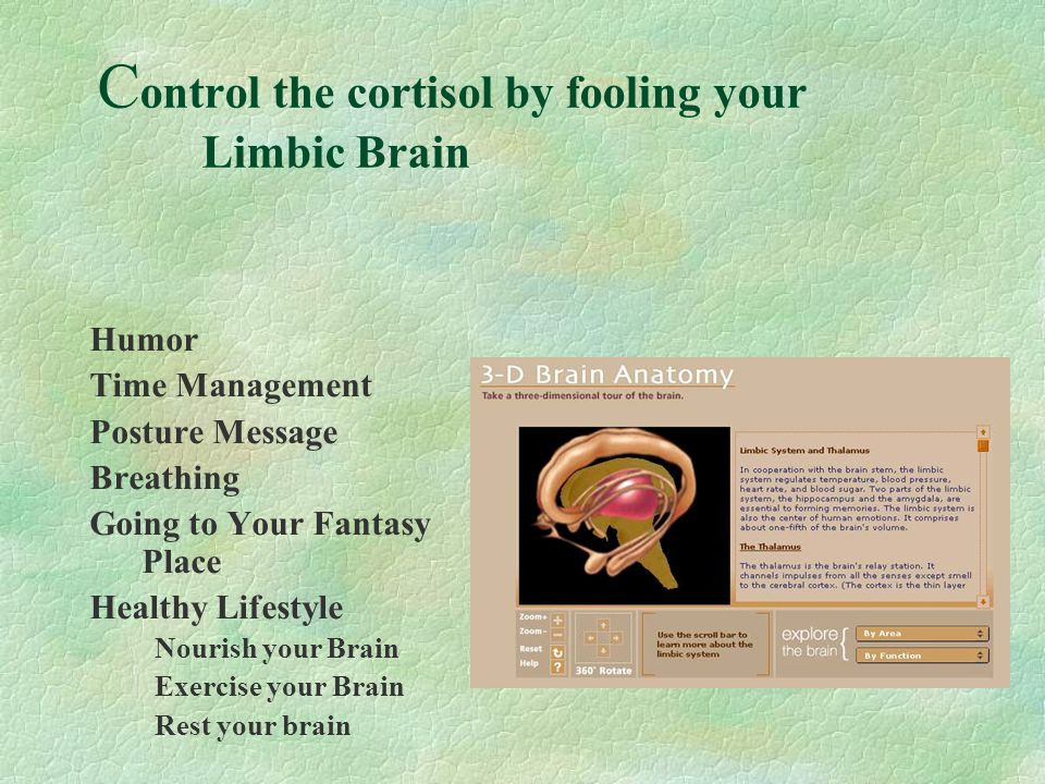 Control the cortisol by fooling your Limbic Brain