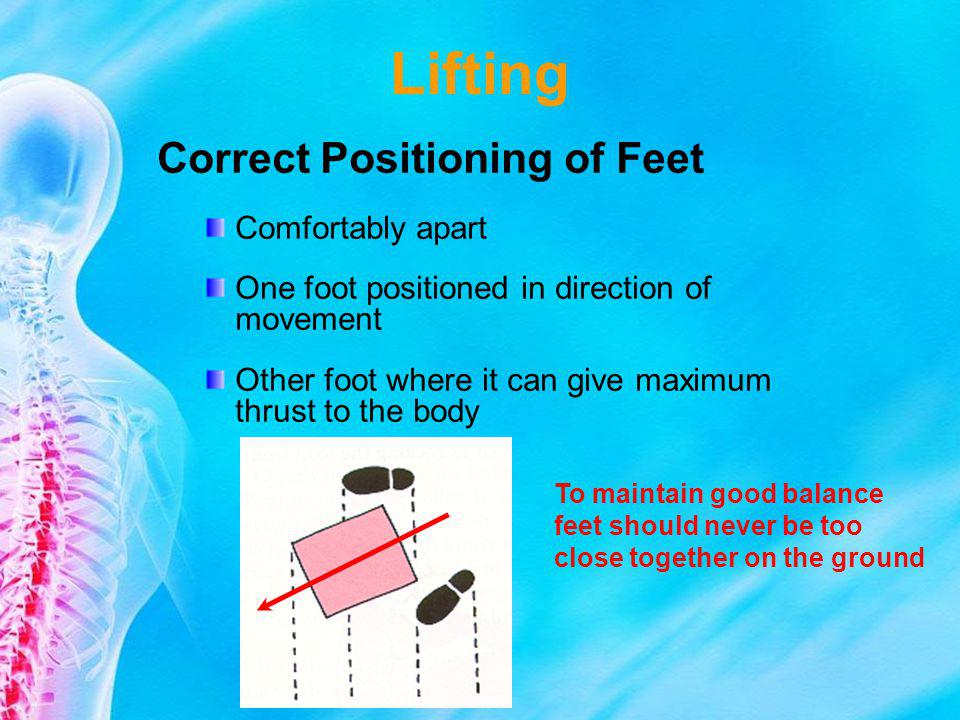 Lifting Correct Positioning of Feet Comfortably apart